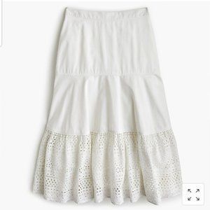 NWT J. Crew Point Sur White Tiered Eyelet Skirt